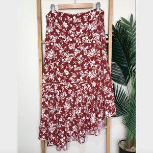 NWOT Zara Red Floral Linen Blend Maxi Skirt L-XL